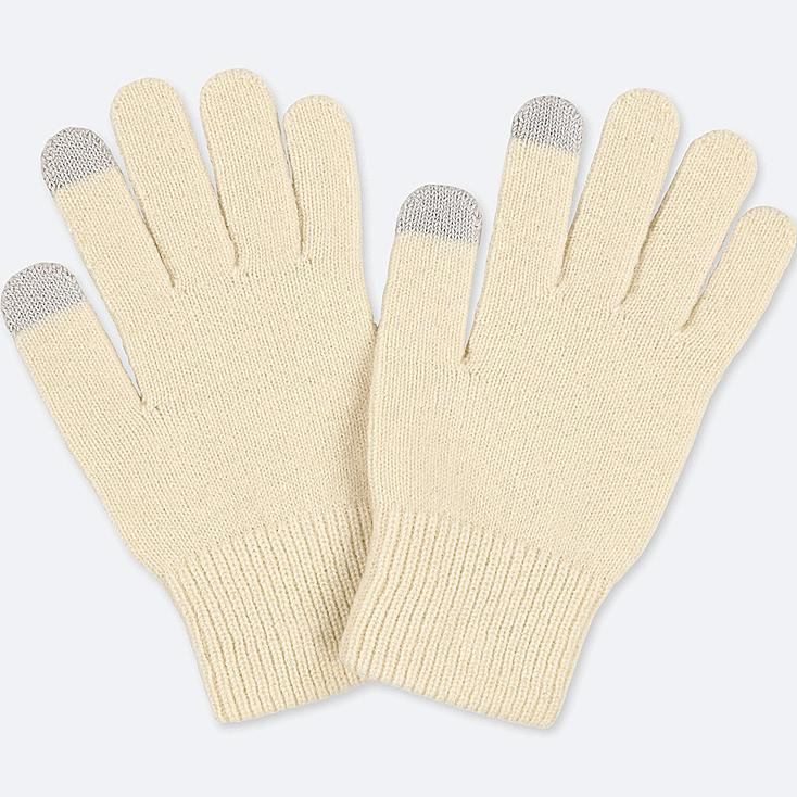 HEATTECH KNITTED GLOVES, OFF WHITE, large
