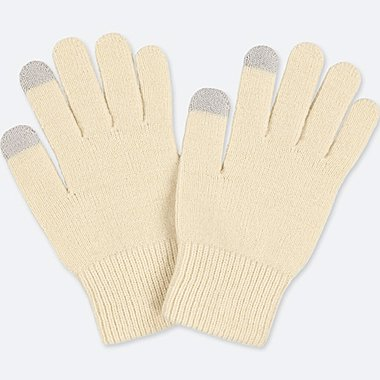 HEATTECH KNITTED GLOVES, OFF WHITE, medium