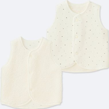 NEWBORN FLUFFY YARN FLEECE VEST REVERSIBLE, OFF WHITE, medium