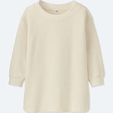 WOMEN WAFFLE CREWNECK 3/4 SLEEVE T-SHIRT, OFF WHITE, medium