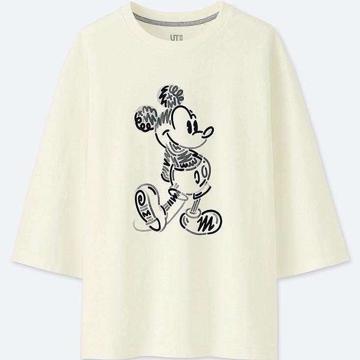 WOMEN LOVE & MICKEY MOUSE COLLECTION GRAPHIC T-SHIRT, OFF WHITE, large