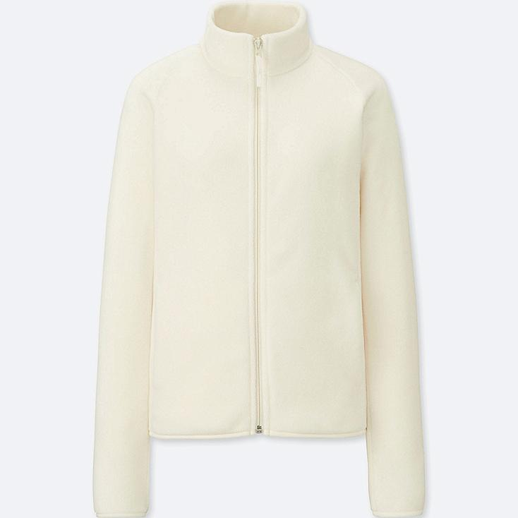 WOMEN FLEECE LONG-SLEEVE FULL-ZIP JACKET (ONLINE EXCLUSIVE), OFF WHITE, large