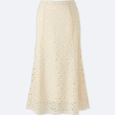WOMEN LACE FLARE SKIRT, OFF WHITE, medium