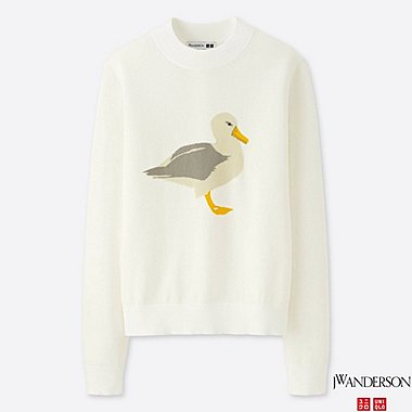 WOMEN J.W.ANDERSON 100% COTTON CREW NECK SEAGULL SWEATER