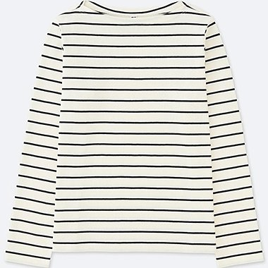 WOMEN STRIPED BOAT NECK LONG-SLEEVE T-SHIRT  5255626b173a