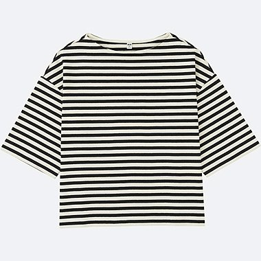 WOMEN STRIPED WIDE 3/4 SLEEVE T-SHIRT, OFF WHITE, medium