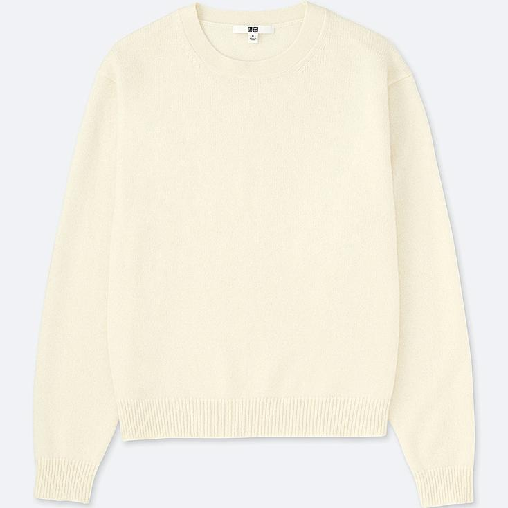WOMEN PREMIUM LAMBSWOOL CREW NECK SWEATER, OFF WHITE, large