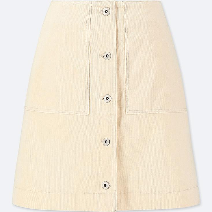 WOMEN CORDUROY FRONT BUTTON HIGH-WAIST MINI SKIRT, OFF WHITE, large