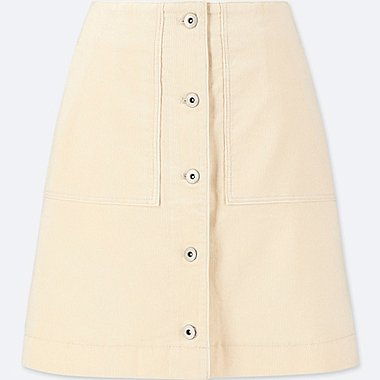 WOMEN CORDUROY FRONT BUTTON HIGH-WAIST MINI SKIRT, OFF WHITE, medium