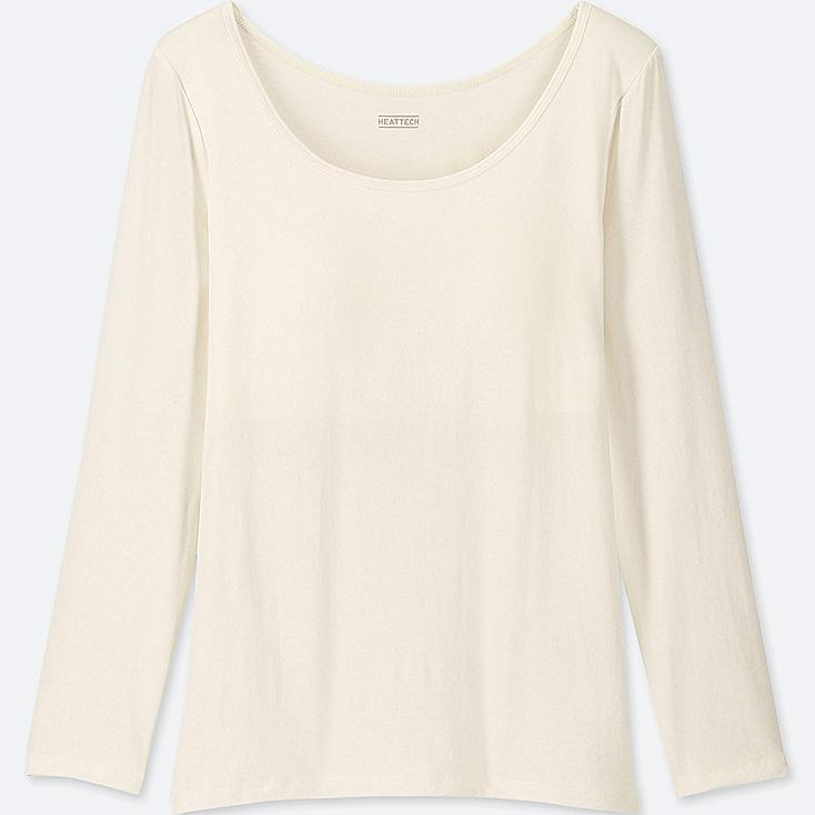GIRLS HEATTECH LONG-SLEEVE BRA TOP, OFF WHITE, large