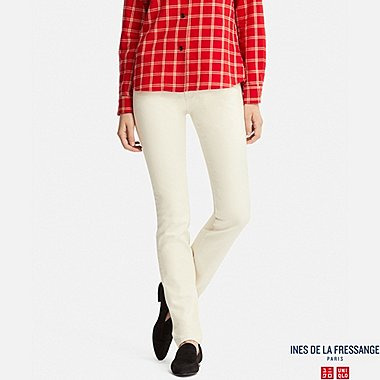 WOMEN SLIM-FIT JEANS (INES DE LA FRESSANGE), OFF WHITE, medium