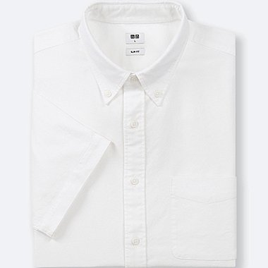 MEN OXFORD SLIM-FIT SHORT-SLEEVE SHIRT, OFF WHITE, medium
