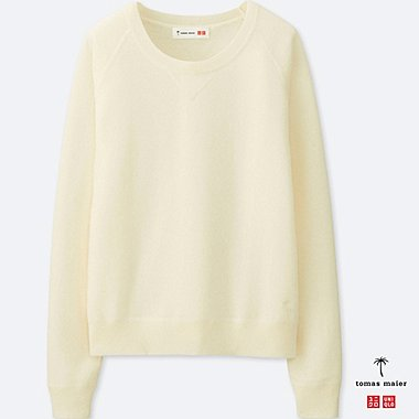 WOMEN CASHMERE CREWNECK SWEATER, OFF WHITE, medium
