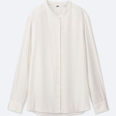 WOMEN RAYON LONG-SLEEVE BLOUSE (ONLINE EXCLUSIVE), OFF WHITE, medium
