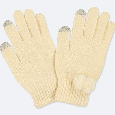 KIDS HEATTECH KNITTED GLOVES, OFF WHITE, medium