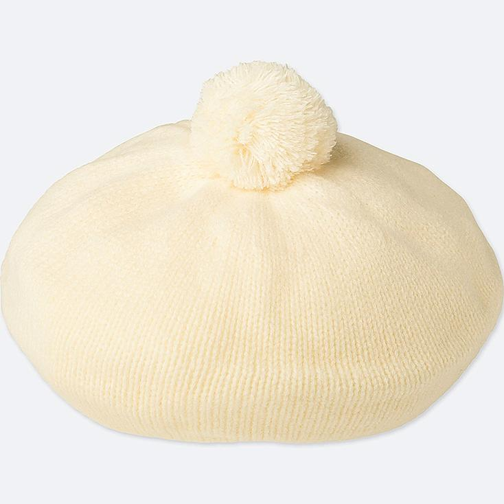 KIDS HEATTECH KNITTED BERET HAT, OFF WHITE, large
