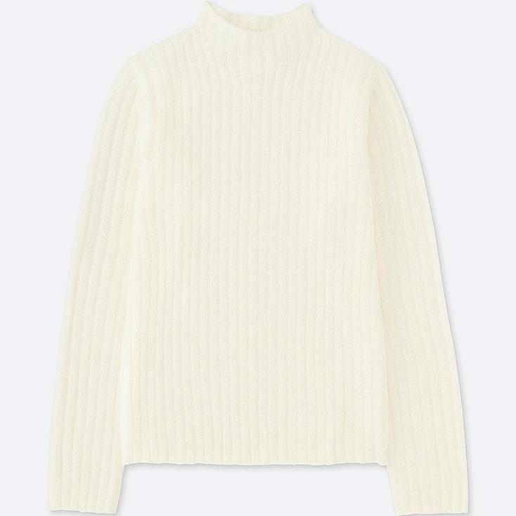 WOMEN WIDE-RIBBED MOCK NECK SWEATER, OFF WHITE, large