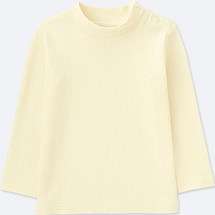 TODDLER RIBBED HIGH-NECK LONG-SLEEVE T-SHIRT, OFF WHITE, large