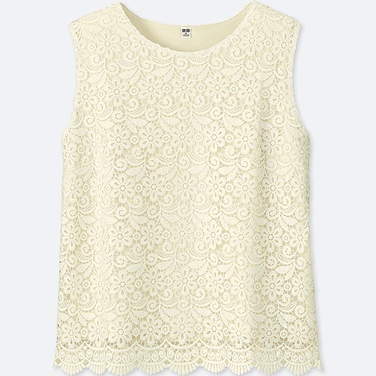 WOMEN LACE SLEEVELESS T-SHIRT (ONLINE EXCLUSIVE), OFF WHITE, large