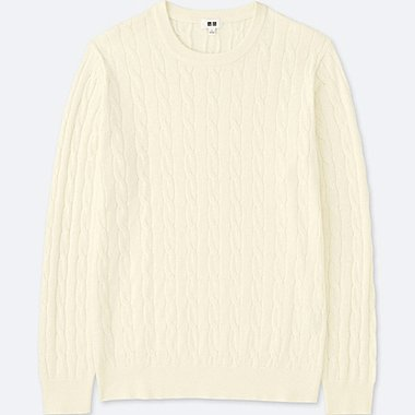 MEN COTTON CASHMERE CABLE LONG-SLEEVE SWEATER, OFF WHITE, medium