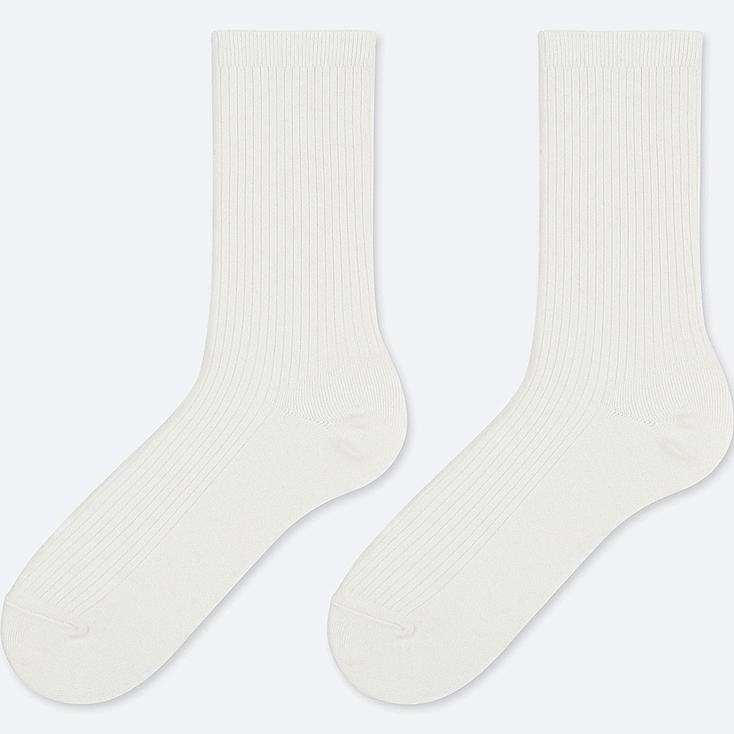 WOMEN HEATTECH RIBBED SOCKS (2 PAIRS), OFF WHITE, large