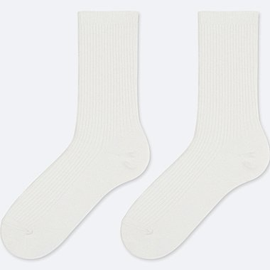 WOMEN HEATTECH RIBBED SOCKS (2 PAIRS), OFF WHITE, medium