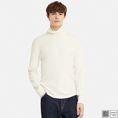 MEN U DOUBLE FACE TURTLENECK LONG-SLEEVE T-SHIRT, OFF WHITE, medium