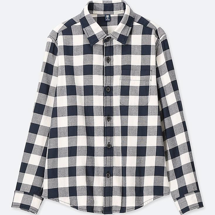 BOYS FLANNEL CHECKED LONG-SLEEVE SHIRT, OFF WHITE, large