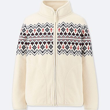 BOYS PRINTED FLEECE FULL-ZIP LONG-SLEEVE JACKET, OFF WHITE, medium