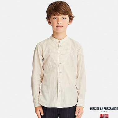 KIDS INES COTTON LAWN STRIPED LONG SLEEVE SHIRT