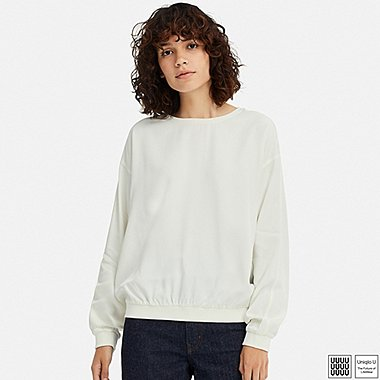 WOMEN U DRAPEY TWILL LONG-SLEEVE BLOUSE, OFF WHITE, medium
