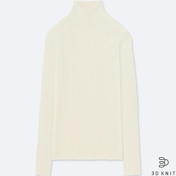 WOMEN 3D EXTRA FINE MERINO TURTLENECK SWEATER, OFF WHITE, large
