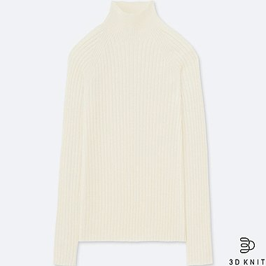WOMEN 3D EXTRA FINE MERINO RIBBED MOCK NECK SWEATER