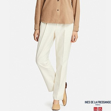 WOMEN COTTON STRAIGHT PANTS (INES DE LA FRESSANGE), OFF WHITE, medium
