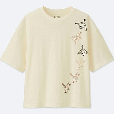 WOMEN KATAGAMI SHORT-SLEEVE GRAPHIC T-SHIRT, OFF WHITE, medium