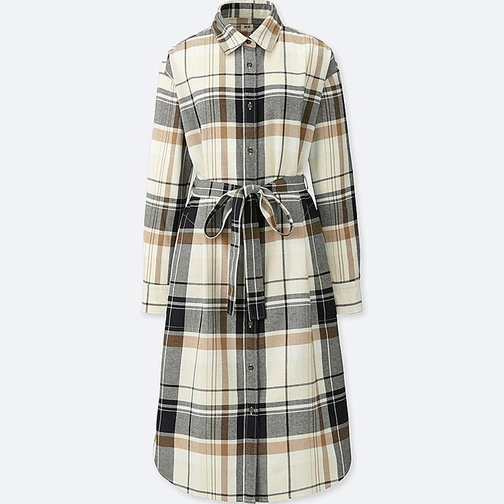 WOMEN FLANNEL LONG-SLEEVE SHIRT DRESS, OFF WHITE, large