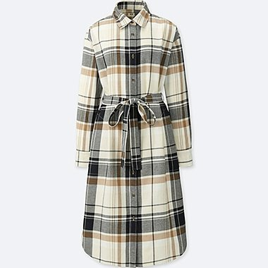 WOMEN FLANNEL CHECKED LONG SLEEVED SHIRT DRESS