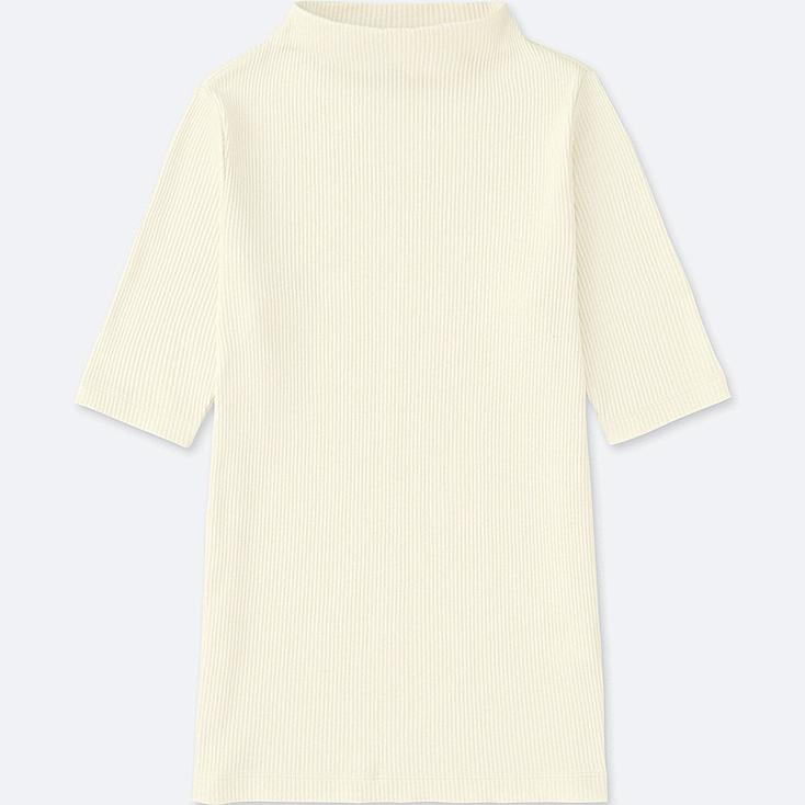 WOMEN RIBBED HIGH-NECK HALF-SLEEVE T-SHIRT, OFF WHITE, large