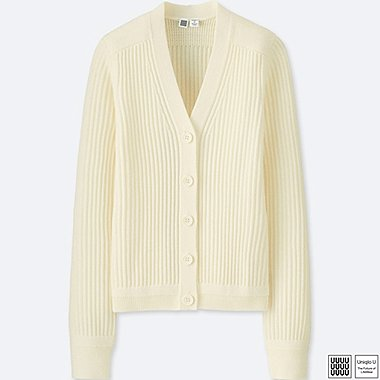 WOMEN U MERINO-BLEND V-NECK CARDIGAN, OFF WHITE, medium