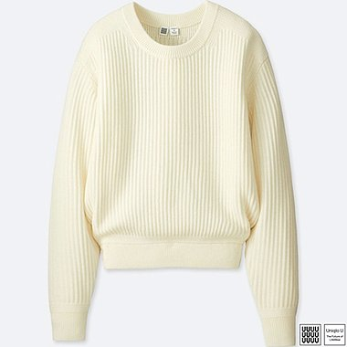 WOMEN U MERINO-BLEND CREWNECK SWEATER, OFF WHITE, medium