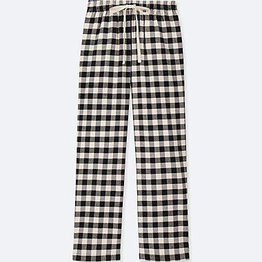 WOMEN PLAID FLANNEL PANTS, OFF WHITE, medium