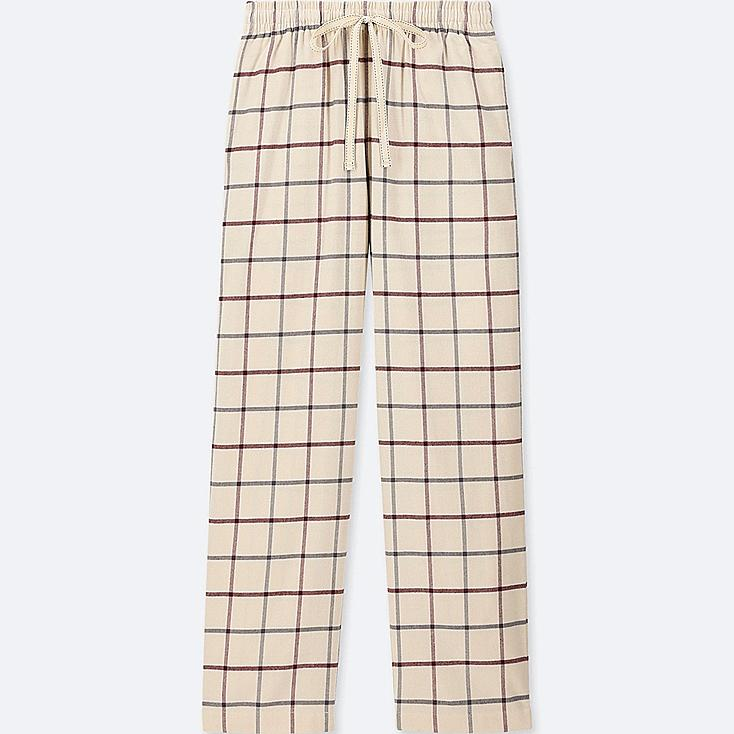 WOMEN PLAID FLANNEL PANTS, OFF WHITE, large