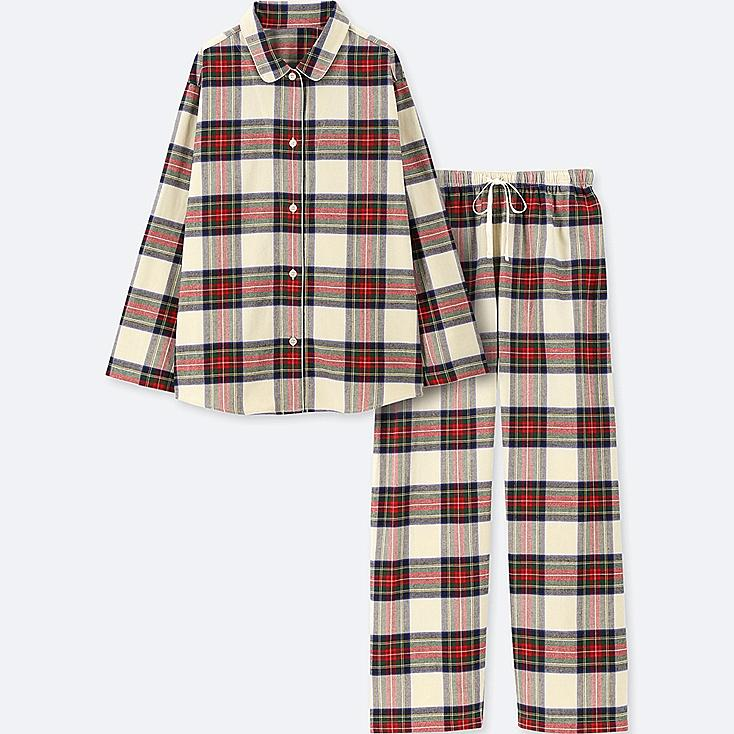 WOMEN FLANNEL LONG-SLEEVE PAJAMAS, OFF WHITE, large