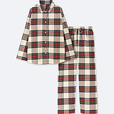 WOMEN FLANNEL LONG-SLEEVE PAJAMAS, OFF WHITE, medium