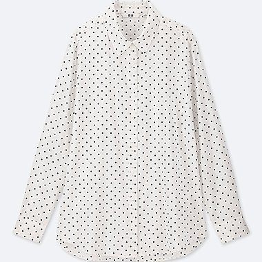 WOMEN RAYON PRINTED LONG-SLEEVE BLOUSE, OFF WHITE, medium