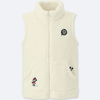 KIDS DISNEY FLUFFY YARN FLEECE VEST, OFF WHITE, medium