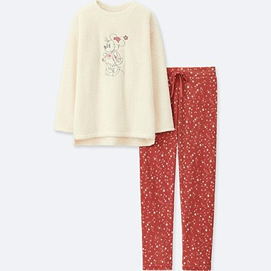 WOMEN DISNEY COLLECTION LONG-SLEEVE FLEECE SET, OFF WHITE, medium