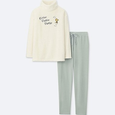 WOMEN PEANUTS LONG-SLEEVE FLEECE SET, OFF WHITE, medium