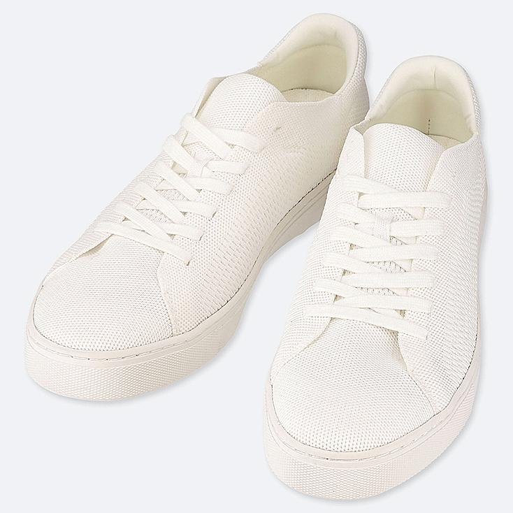 MEN KNIT SNEAKERS, OFF WHITE, large