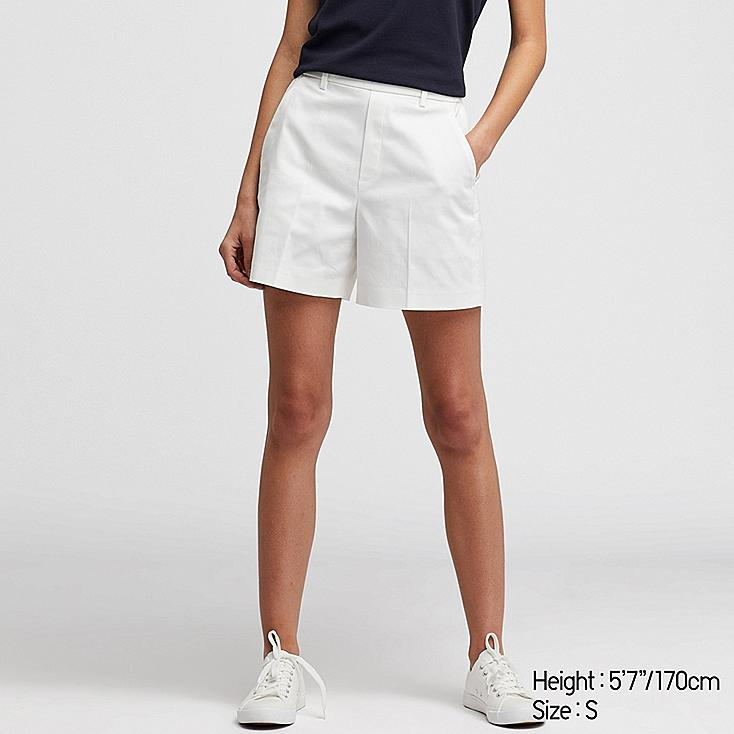 WOMEN SATIN SHORTS (ONLINE EXCLUSIVE), OFF WHITE, large